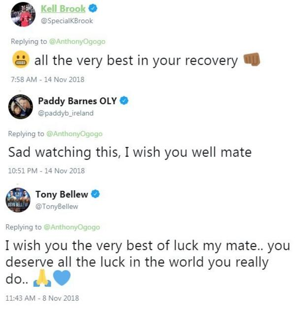 Boxers wishing him luck