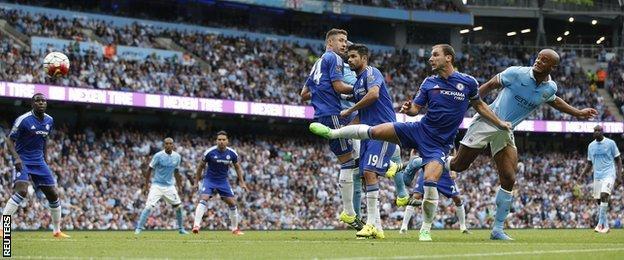 Vincent Kompany scores against Chelsea