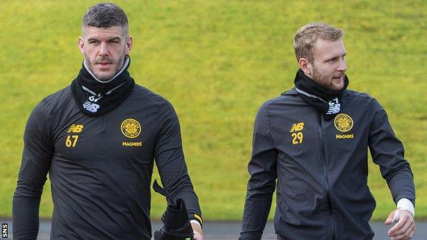 Celtic goalkeepers Fraser Forster and Scott Bain