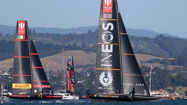 Team Ineos leads Luna Rossa in race six