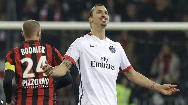 Paris St-Germain forward Zlatan Ibrahimovic celebrates scoring against Nice