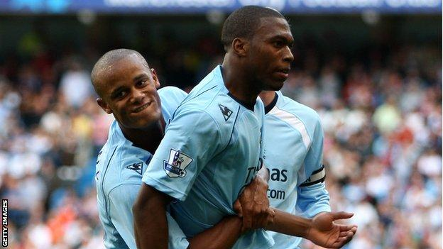 Vincent Kompany and Daniel Sturridge on Kompany's debut in 2008