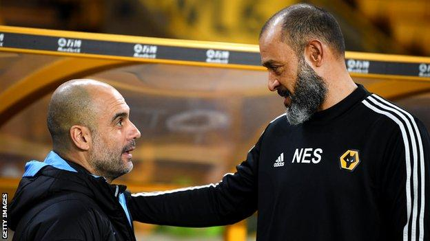 Manchester City manager Pep Guardiola and Wolves boss Nuno Espirito Santo