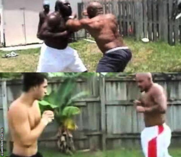 Masvidal, Kimbo Slice and Ray pictured in their Miami streetfighing days