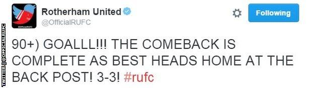 Rotherham tweet