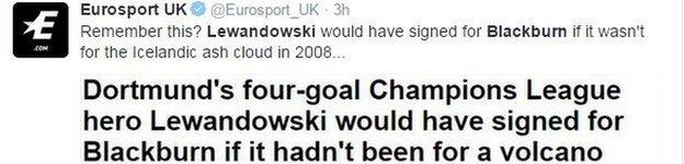 Eurosport tweet