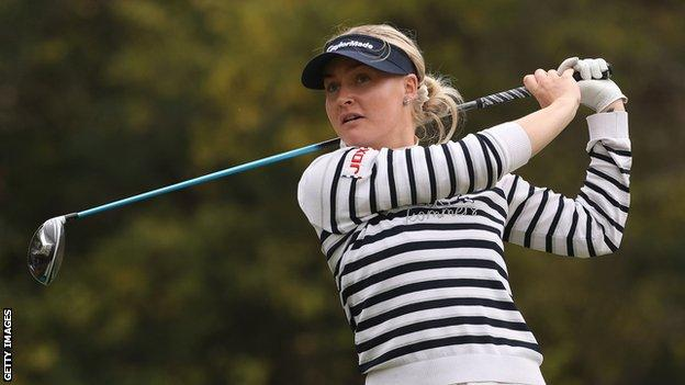 England's Charley Hull plays a shot during her second round at the 2020 US Women's Open