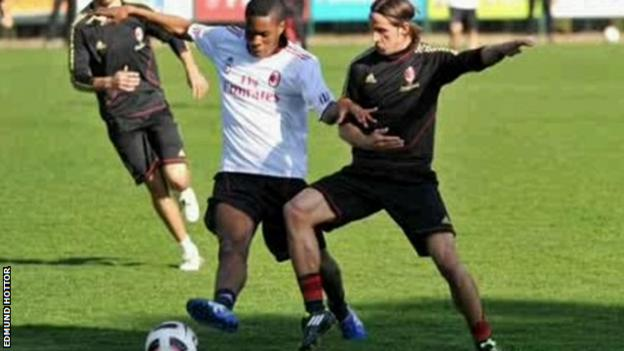 sports Edmund Hottor in a practice match at AC Milan's training ground