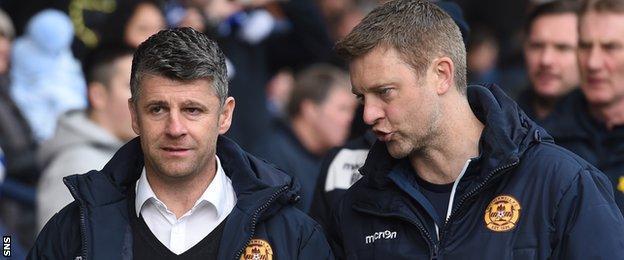 Motherwell interim manager Steve Robinson and coach Stephen Craigan