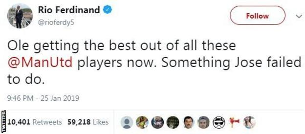 Tweet from Rio Ferdinand saying 'Ole getting the best out of all these Man Utd players now. Something Jose failed to do'