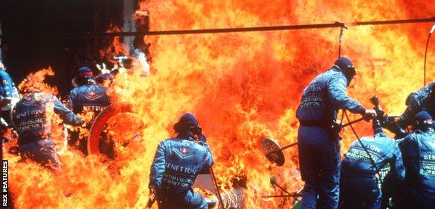 Jos Verstappen's Benetton catches fire at the 1994 German GP