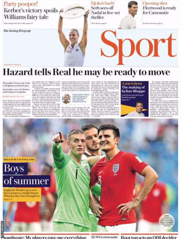 The Sunday Telegraph also points to Hazard's comments about his future