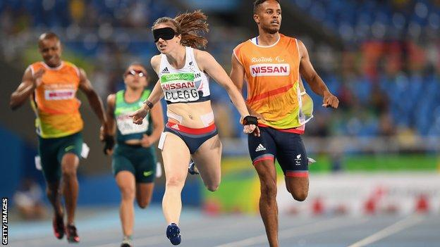 Libby Clegg (left) wins gold in Rio