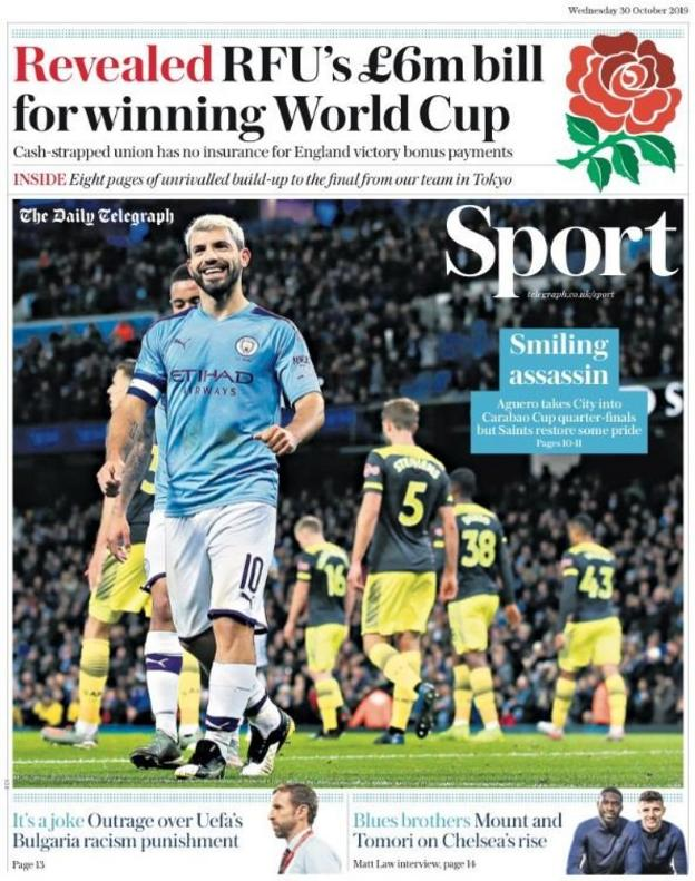 The front page of Telegraph's sport section