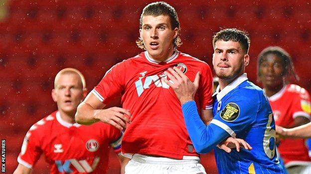 Josh Davison in action for Charlton