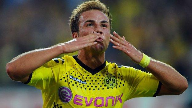 Mario Gotze in action for Borussia Dortmund