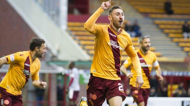 Louis Moult celebrates after scoring for Motherwell