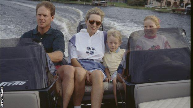 Stewart with wife and two children in 1993
