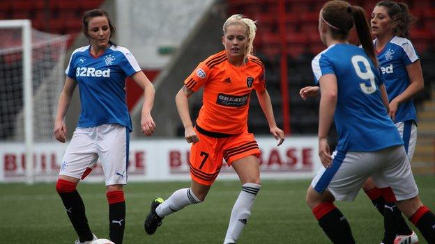 Glasgow City's Denise O'Sullivan (centre) is crowded out by Rangers players