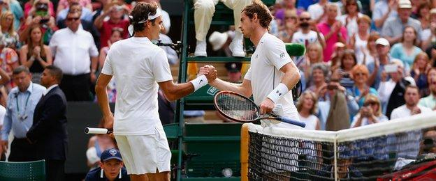 Roger Federer and Andy Murray in the men's semi-final at Wimbledon