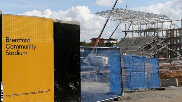 Brentford's new stadium under construction at Lionel Road