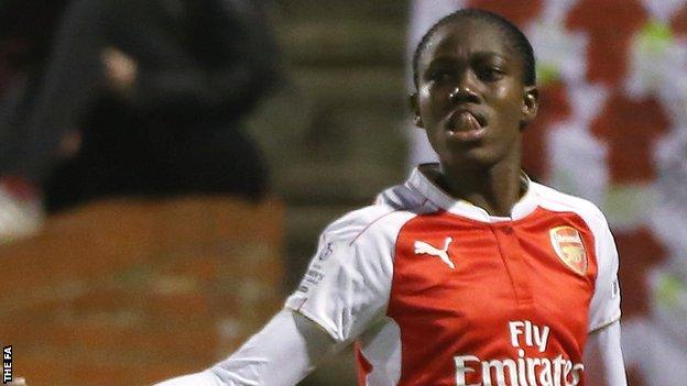 Asisat Oshoala celebrates her goal for Arsenal Ladies