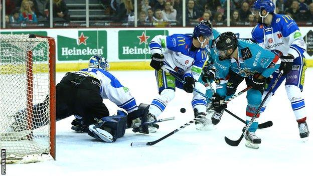 Belfast Giants threaten the Blaze goal during Saturday night's game at the SSE Arena