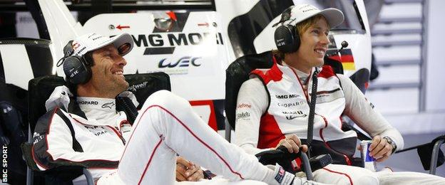 Mark Webber and Porsche team-mate Brendon Hartley
