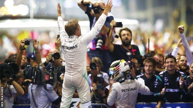 Rosberg celebrates winning in singapore
