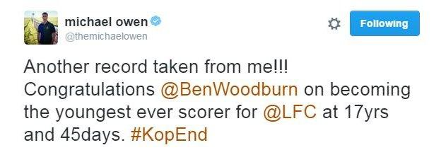 Michael Owen was quick to congratulate Liverpool's new record holder on Twitter