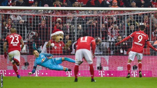 Robert Lewandowski scores from the penalty spot
