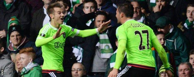 Ajax's Vaclav Cerny (left) celebrates his winner against Celtic
