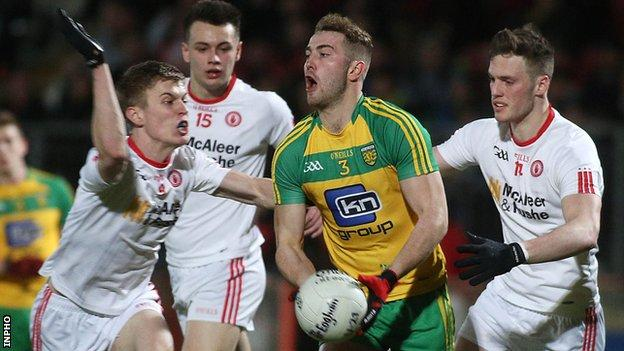 Tyrone trio Ryan Loughran, Paul Donaghy and David Mulgrew close in on Donegal's Stephen McMenamin