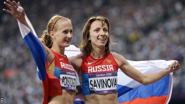 Mariya Savinova (R) and Ekaterina Poistogova
