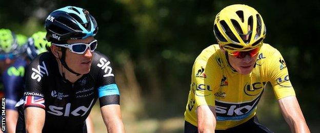 Geraint Thomas and Chris Froome ride alongside each other during the 2015 Tour de France