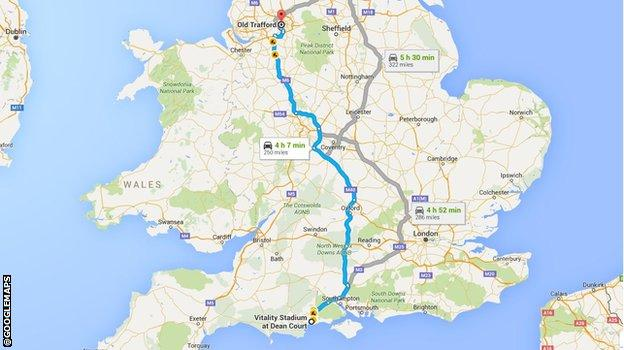 Bournemouth to Manchester journey