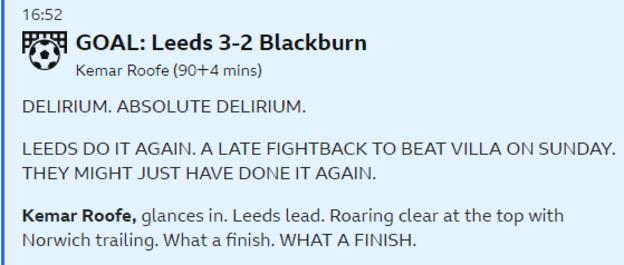 BBC Sport live text