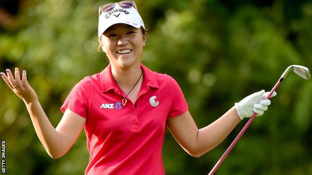 Lydia Ko reacts to a shot the Canadian Women's Open