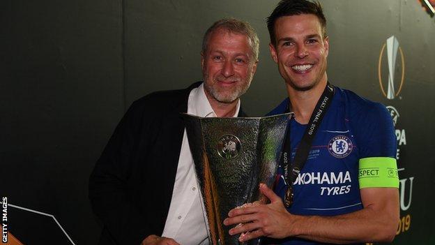 Chelsea owner Roman Abramovich and Cesar Azpilicueta