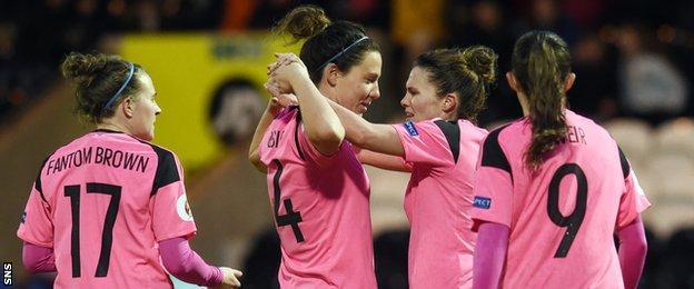 Scotland's women celebrate a goal in Euro 2017 qualifying