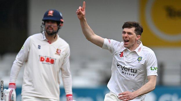 Durham bowler Matt Salisbury dismisses Essex captain Tom Westley