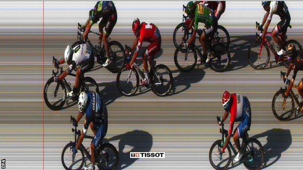 Cavendish beat Kittel (far right) and McLay (far left) but by less than a metre