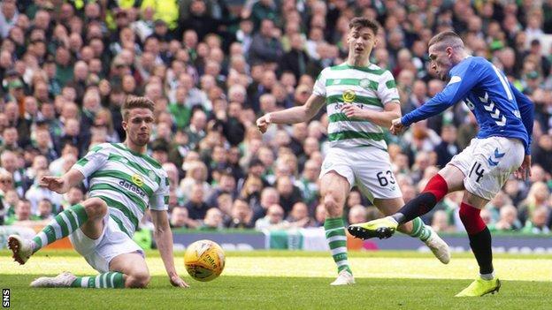 Ryan Kent scores for Rangers against Celtic