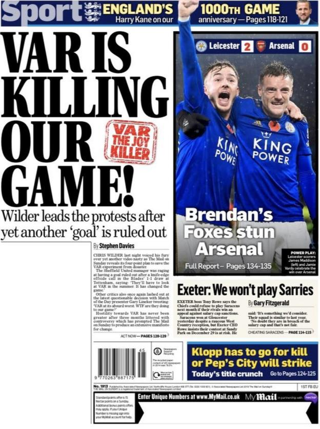 The back page of the Mail on Sunday