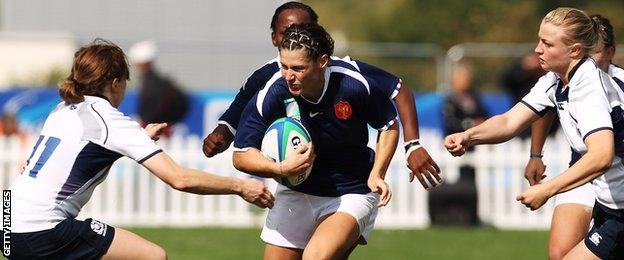 Scotland in action in their last Women's Six Nations victory against France in 2010.