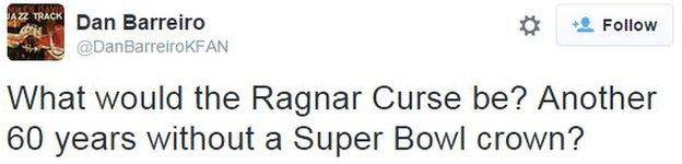 Dan Barreiro on Twitter: What would the Ragnar Curse be? Another 60 years without a Super Bowl crown?