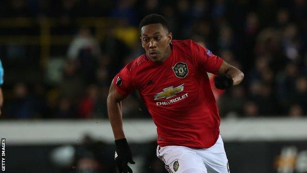 Anthony Martial scores against Club Bruges