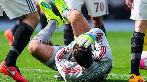 AC Milan's 17-year-old keeper Gianluigi Donnarumma.