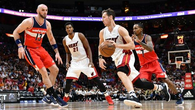 Miami Heat's Goran Dragic dribbles past Washington Wizards' Marcin Gortat