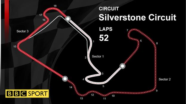 A graphic to show the track layout at Silverstone for the British Grand Prix